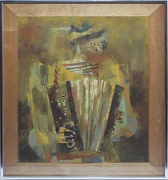 """The Musician"" Modernist Abstracted Figure Painting by Enrique Climent"