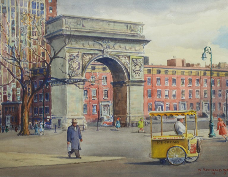 Vintage American Modernist Painting of Washington Square Park by William Watkins For Sale 3
