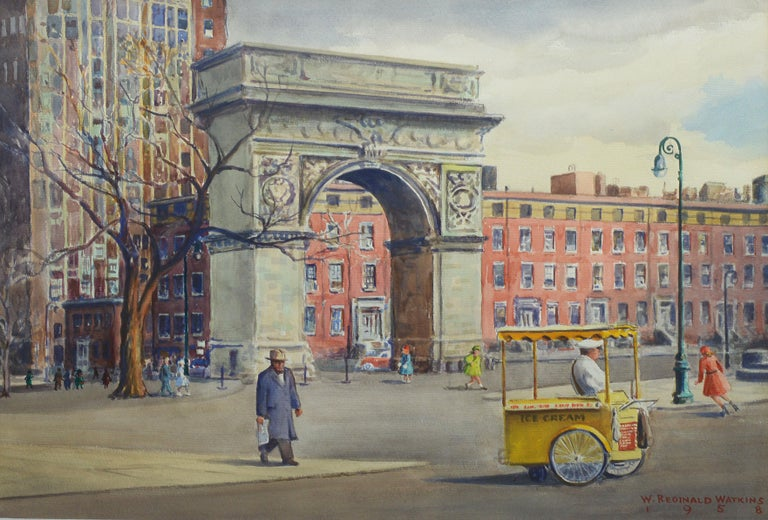 Vintage American Modernist Painting of Washington Square Park by William Watkins For Sale 2