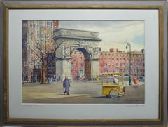 Vintage American Modernist Painting of Washington Square Park by William Watkins