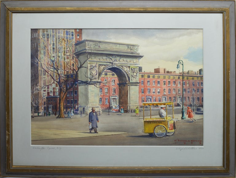 "Vintage American modernist painting of Washington Square Park by William Watkins  (1890 - 1985).  Watercolor and gouache on paper, circa 1958.  Signed.  Displayed in a gold frame.  Image, 28""L x 21""H, overall 38""L x 32""H."