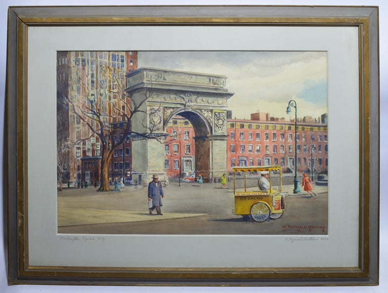 Vintage American Modernist Painting of Washington Square Park by William Watkins For Sale 1