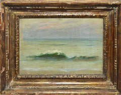 Antique American Impressionist School Sunset Beach Oil Painting, Maxim Lubovsky