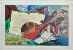 Female American Modernist Guitar Cubist Still Life Painting, Hope Voorhees 1940