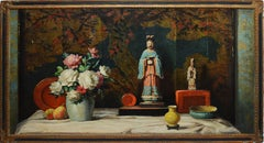 Antique American Flower Still Life with Chinoiserie by Vladimir Pavlosky