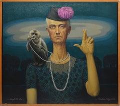 Vintage American Surrealist Portrait with Monkey by Hugh M Poe