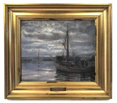 Original Antique Dutch Seascape Oil Painting Nocturnal Rare Original Frame 1937