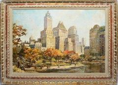 Antique Impressionist Oil Painting of Central Park, New York by Frank Moratz