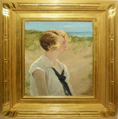 Antique Impressionist Seaside Beach Portrait Oil Painting by Charles Gruppe