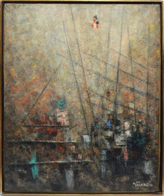 Vintage Modern Italian School Abstract Harbor View Oil Painting