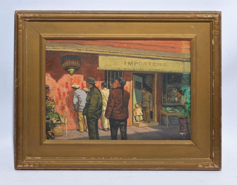 Antique American Modernist Street Scene, Chinatown San Francisco by Arthur Dodge - Painting by Arthur Burnside Dodge