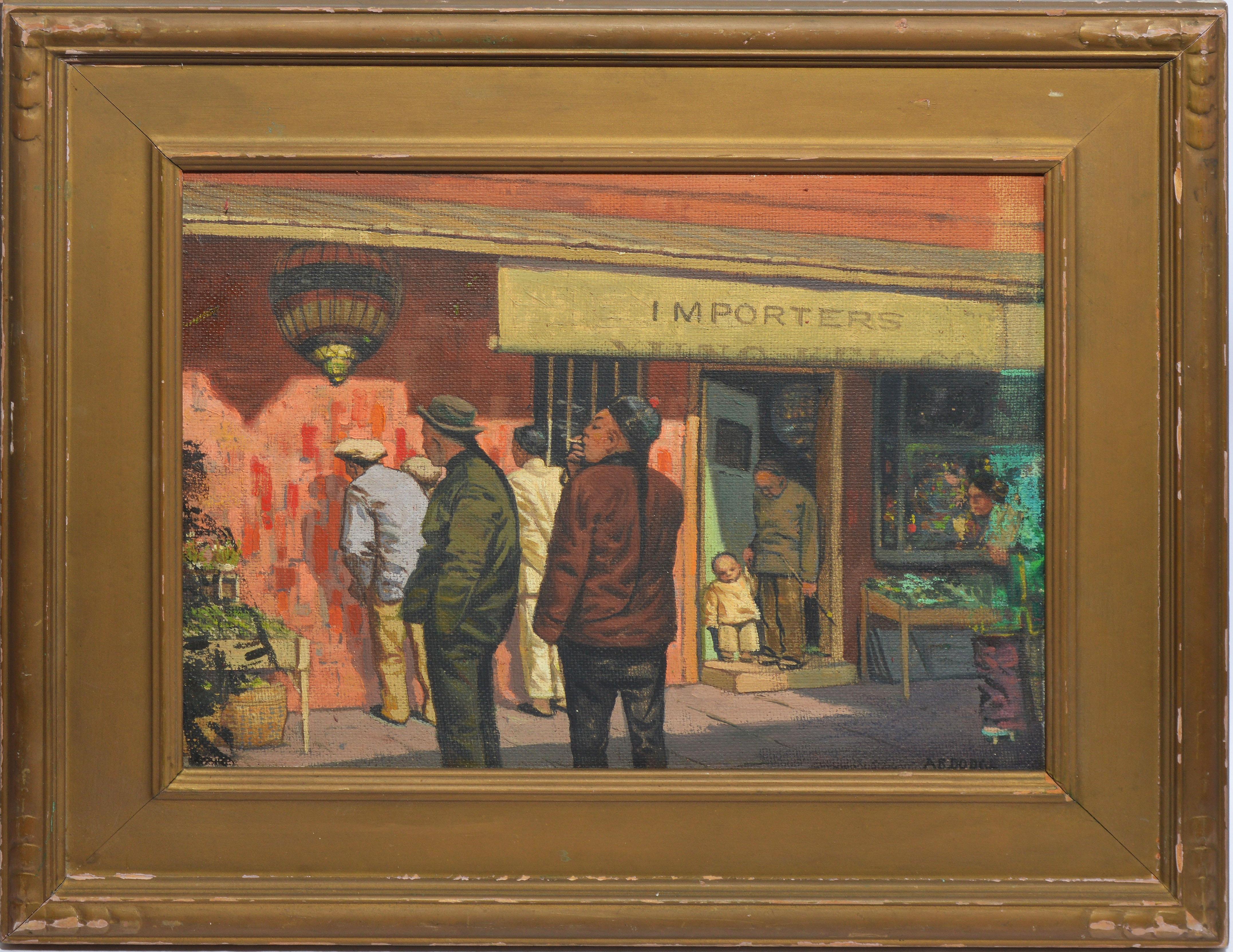 Antique American Modernist Street Scene, Chinatown San Francisco by Arthur Dodge