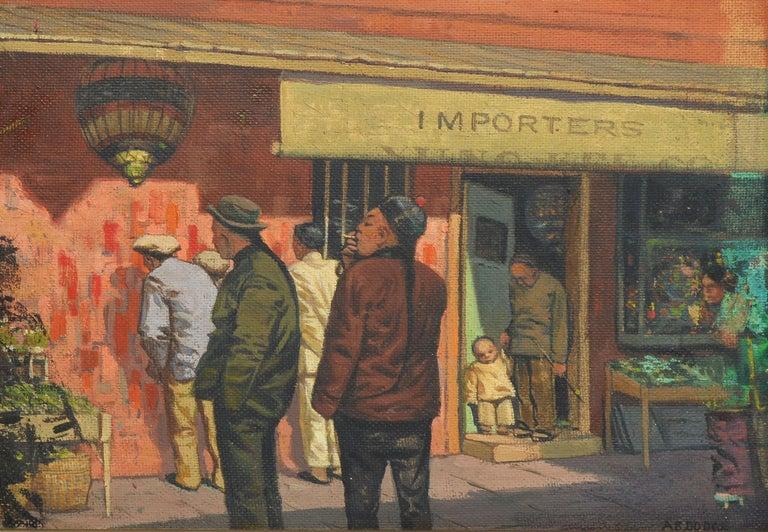 Antique American Modernist Street Scene, Chinatown San Francisco by Arthur Dodge - Impressionist Painting by Arthur Burnside Dodge