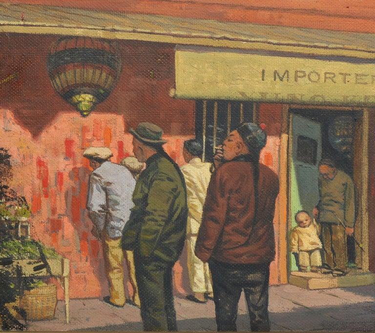 Antique American Modernist Street Scene, Chinatown San Francisco by Arthur Dodge - Brown Landscape Painting by Arthur Burnside Dodge