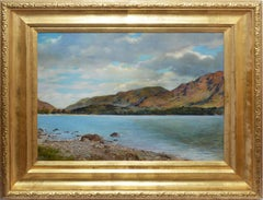 Antique American Expansive River View, Original Oil Painting by Francis Millet