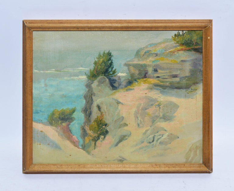 Antique American Impressionist Beach Seascape Oil Painting by Walter Cleveland - Brown Landscape Painting by Walter G. Cleveland