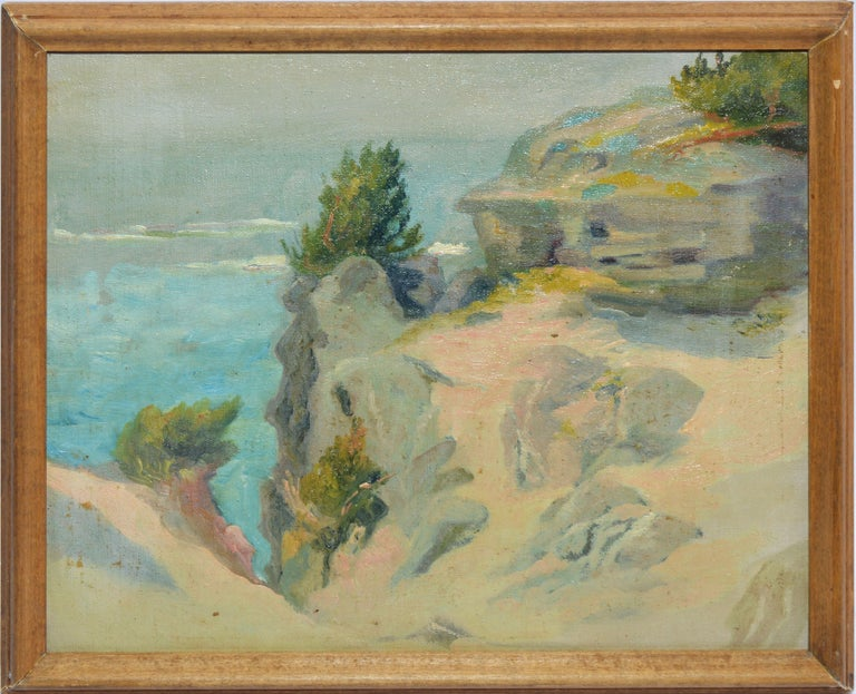 Walter G. Cleveland Landscape Painting - Antique American Impressionist Beach Seascape Oil Painting by Walter Cleveland