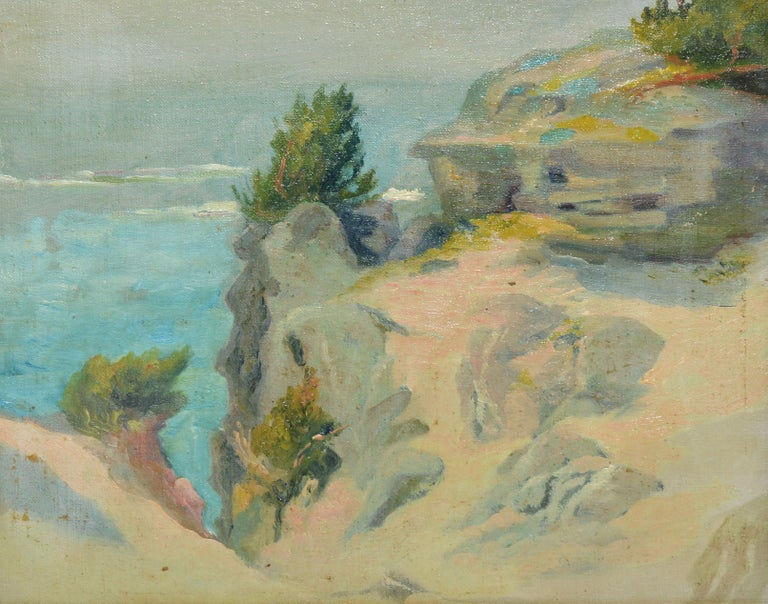 Impressionist view of a beach by Walter Cleveland.  Oil on board, circa 1900.  Unsigned.  Displayed in a period blackwood frame.  Image, 11.5
