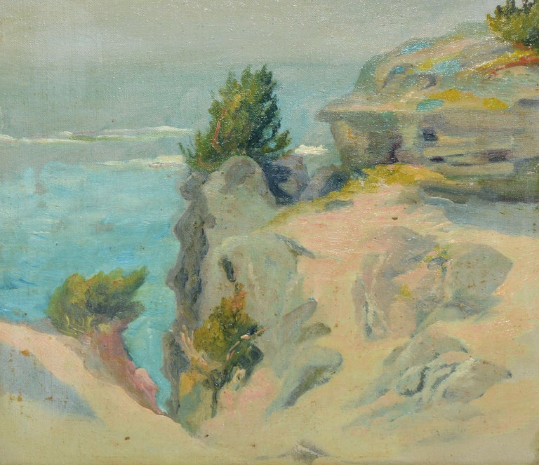 Antique American Impressionist Beach Seascape Oil Painting by Walter Cleveland For Sale 1