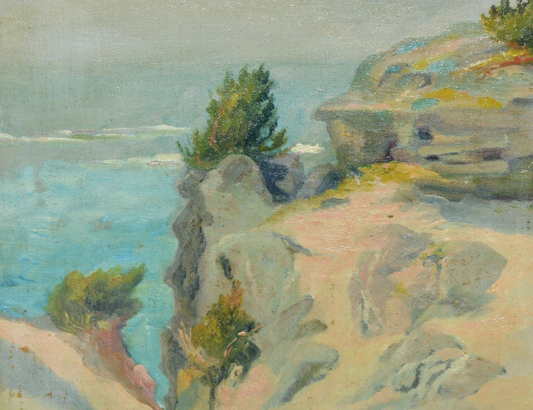 Antique American Impressionist Beach Seascape Oil Painting by Walter Cleveland For Sale 2