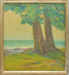 Antique American Impressionist Beach Seascape Oil Painting by Walter Cleveland
