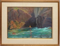 Antique Impressionist Seascape Painting with Bathers by Alling MacKaye Clements