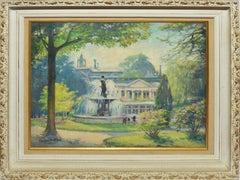 Antique Impressionist Paris Park Landscape Oil Painting by Jules Herve Mathe