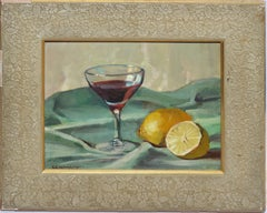 Antique American Modernist Still Life Painting, Wine and Lemons Stephen Maniatty