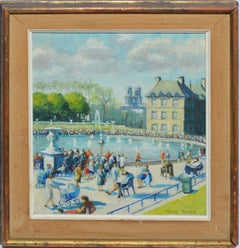 Antique Impressionist Paris Park View with Figures, Oil Painting by Mary Howe