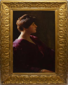 Antique Boston Oil Painting Portrait of a Young Woman by William W. Churchill