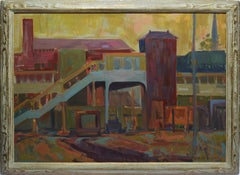 Modern Industrial Train Yard Abstract Cityscape Oil Painting by H. E. Butts