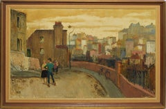 Antique Modernist Cityscape of Paris, Oil Painting by Laurie Taylor