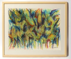 Toma Yovanovich Mid Century Abstract Colorful Oil Pastel Synesthesia 1960