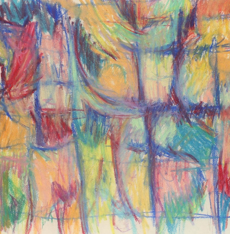 Toma Yovanovich Mid Century Abstract Colorful Oil Pastel Synesthesia 1960 - Beige Abstract Drawing by Toma Yovanovich
