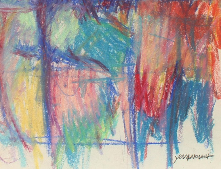 Toma Yovanovich Mid Century Abstract Colorful Oil Pastel Synesthesia 1960 For Sale 1