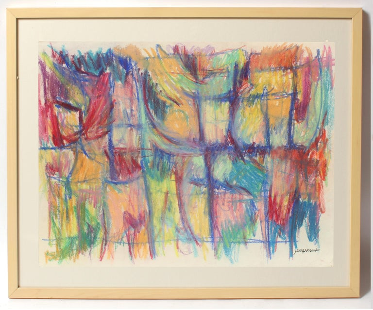 Toma Yovanovich Mid Century Abstract Colorful Oil Pastel Synesthesia 1960 - Art by Toma Yovanovich