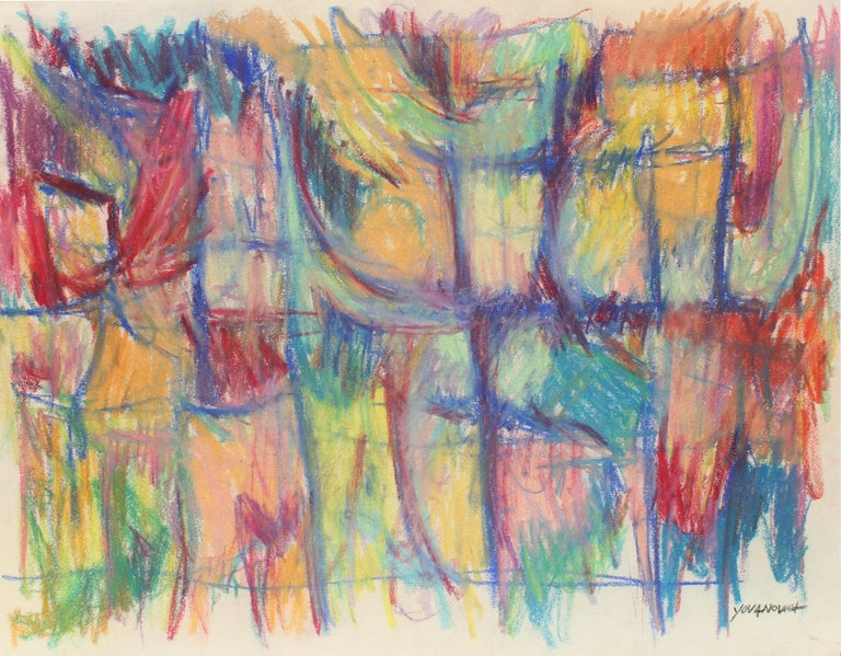 Toma Yovanovich Mid Century Abstract Colorful Oil Pastel Synesthesia 1960 - Abstract Expressionist Art by Toma Yovanovich