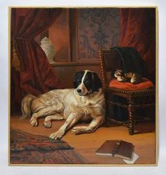 """Friends"" Vintage Interior Oil Painting with a Dog and Cat by André de Moller"