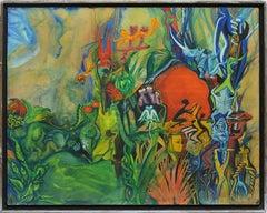 Modernist Surreal Voodoo Garden Landscape Oil Painting by Elizabeth Monath 1966
