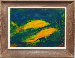 Vintage Modernist Pop Art Abstract Fish Still Life Painting by Alexandra Merker