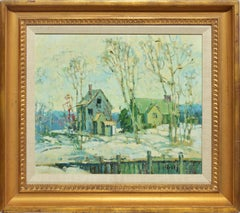 American Impressionist Winter Snow Barn Landscape Oil Painting by Loretta Feeney