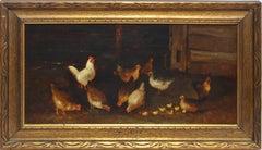 Antique American Folk Art Barn & Chicken Oil Painting by Josephine Bradstreet