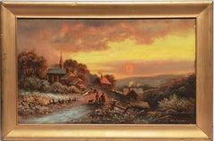 Antique Luminous Hudson River School Sunset Landscape Oil Painting, John Louis