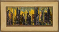 Vintage Mid Century Modern Abstract Cityscape Oil Painting by Edmund E Niemann