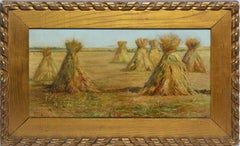 Antique American Impressionist Haystack Landscape Oil Painting by Mary Guise