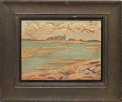 Antique Canadian Modernist Lake Landscape Signed Oil Painting