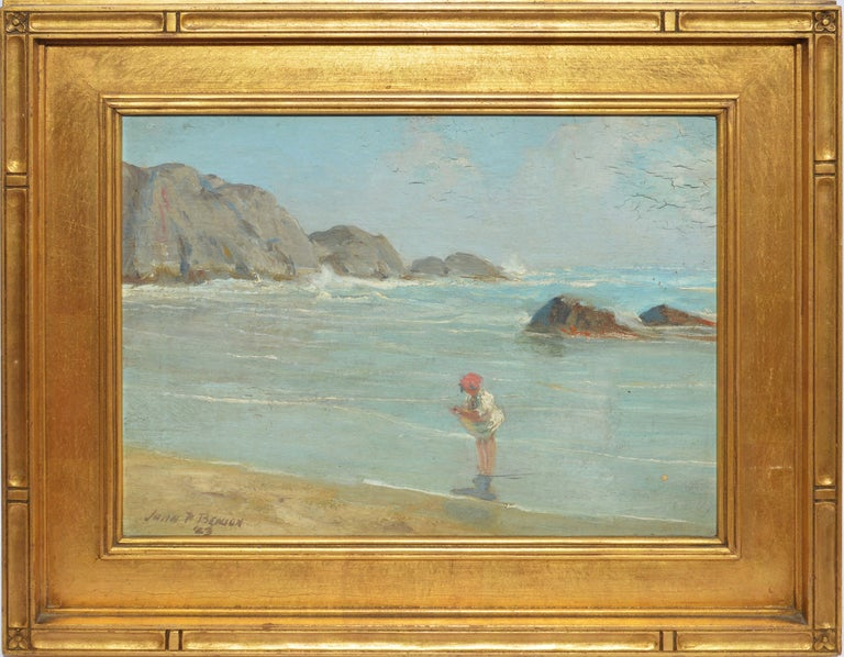 "Antique American beach painting by John Prentiss Benson  (1865 - 1947).  Oil on board, circa 1923.  Signed.  Displayed in a period giltwood frame.  Image, 13""L x 10""H, overall 17""L x 14""H."