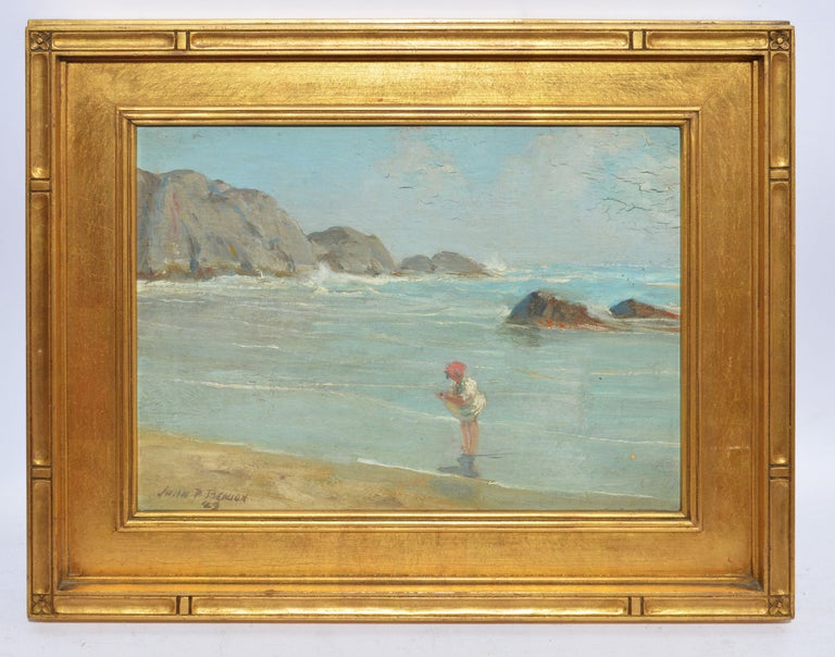Antique American New England Beach Oil Painting by John Prentiss Benson For Sale 1