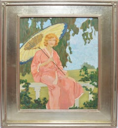 Antique American Impressionist Portrait of a Woman by Marguerite Merriam Diddel