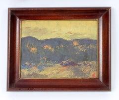 1930's small landscape painting by New York Boston modern artist Joseph Eger